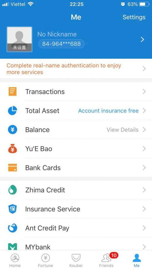 xác minh tài khoản Alipay trên điện thoại